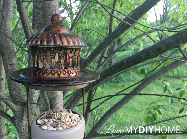 2 Candle Holders Upcycled to Bird Feeder {Love My DIY Home}
