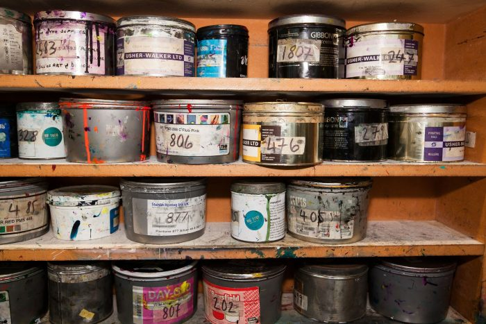 messy paint cans